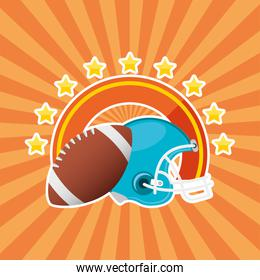 superbowl sport poster with balloon and helmet