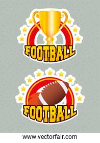 superbowl sport poster with trophy cup and ball frames