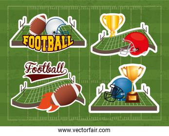 superbowl sport poster with set equipment icons