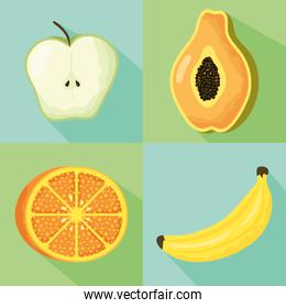healthy lifestyle set of fruits