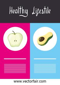 healthy lifestyle lettering with icons