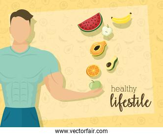 young man athlete character with fruits and vegetables