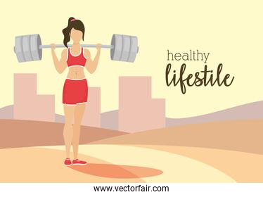 young woman athlete weight lifting in the park character