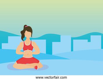 young woman athlete practicing yoga