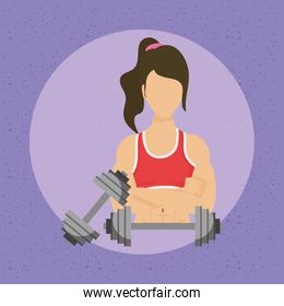 young woman athlete with weight lifting dumbbells