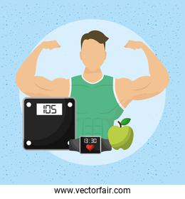 man athlete character with healthy lifestyle icons