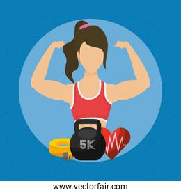 young woman athlete with healthy lifestyle icons