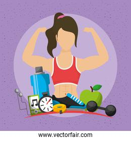 woman athlete character and healthy lifestyle icons