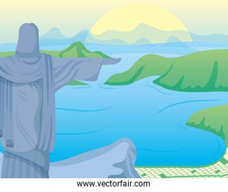 brazil carnival poster with corcovade christ in landscape