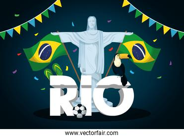 brazil carnival poster with corcovade christ and flags