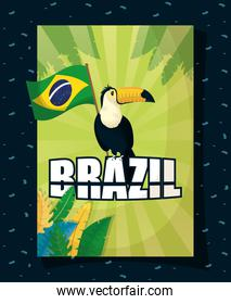 brazil carnival poster with toucan and flag