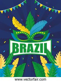 brazil carnival poster with mask and feathers