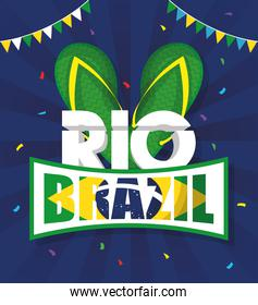 brazil carnival poster with sandals and flag