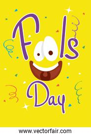 happy april fools day card with lettering and emoji