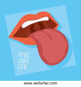 happy april fools day card with lettering and crazy mouth