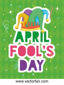 happy april fools day card with lettering and buffoon hat