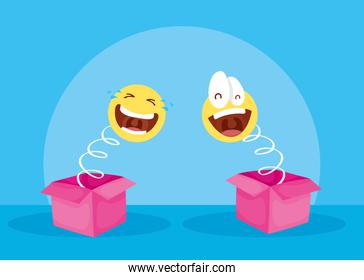 happy april fools day card with surprise boxes and emojis