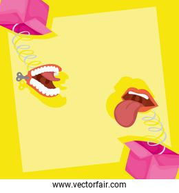 happy april fools day card with surprise boxes and crazy mouths