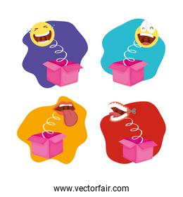 happy april fools day card with bundle of surprise boxes