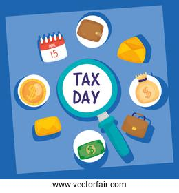 magnifying glass and tax day set icons