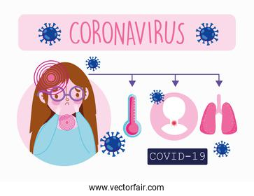 covid 19 coronavirus infographic, sick girl patient with symptoms fever cough