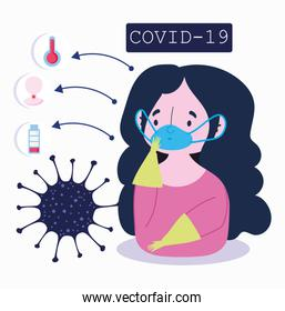 covid 19 coronavirus infographic, character with medical mask and symptoms cold fever and cough