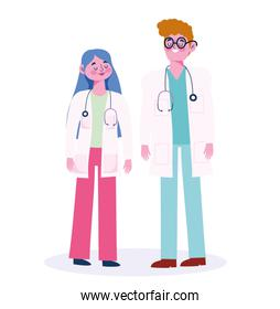doctor male and female with stethoscope professional occupation character