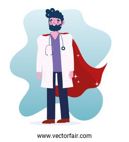 doctor hero, character medical staff professional cartoon