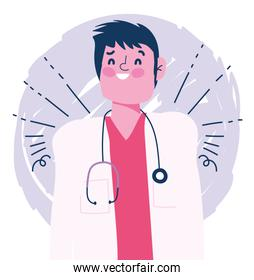 doctor male character professional medical stethoscope design