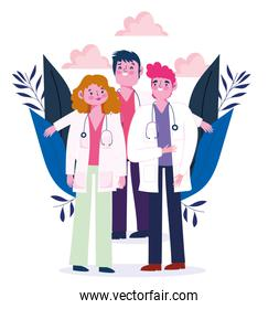 medical people group doctor occupation profession characters with coat and stethoscope