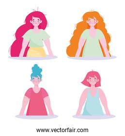 women group cartoon character portrait isolated design