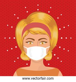 Pop art woman with mask over pointed background vector design
