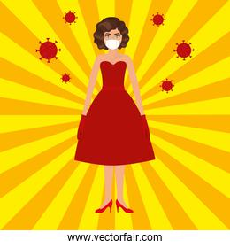 Pop art woman with mask over striped background vector design
