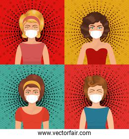 Pop art women with masks over pointed background vector design