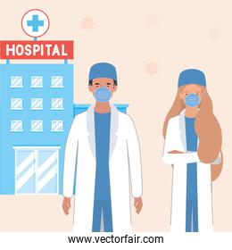 Woman and man doctors with masks against 2019 ncov virus vector design