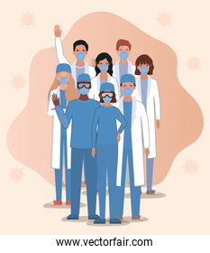 Men and women doctors with masks against 2019 ncov virus vector design