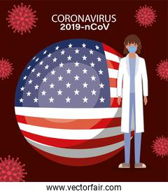 Coronavirus 2019 nCov woman doctor with mask uniform and usa flag vector design