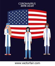 Coronavirus 2019 nCov women doctors with masks uniforms and usa flag vector design