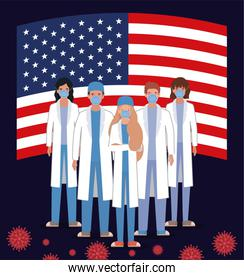 Coronavirus 2019 nCov women men doctors with masks uniforms and usa flag vector design