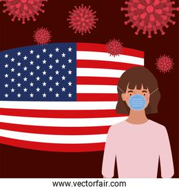 Coronavirus 2019 nCov woman with mask and usa flag vector design