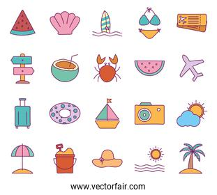 Summer line and fill style icon set vector design