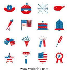 Independence day flat style icon set vector design