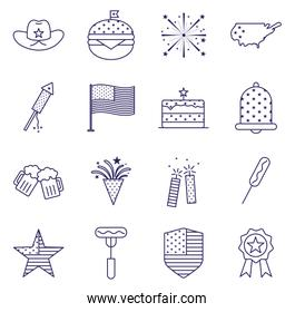 Independence day line style icon set vector design