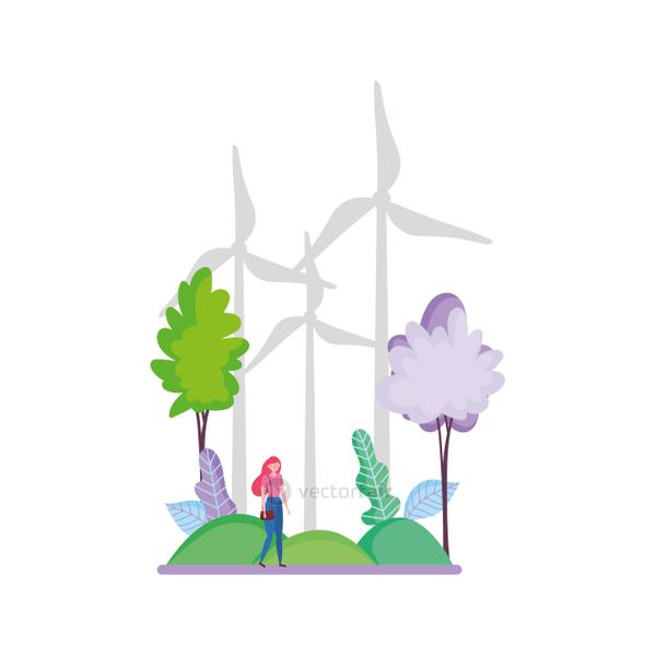 woman wind turbines outdoor trees ecology