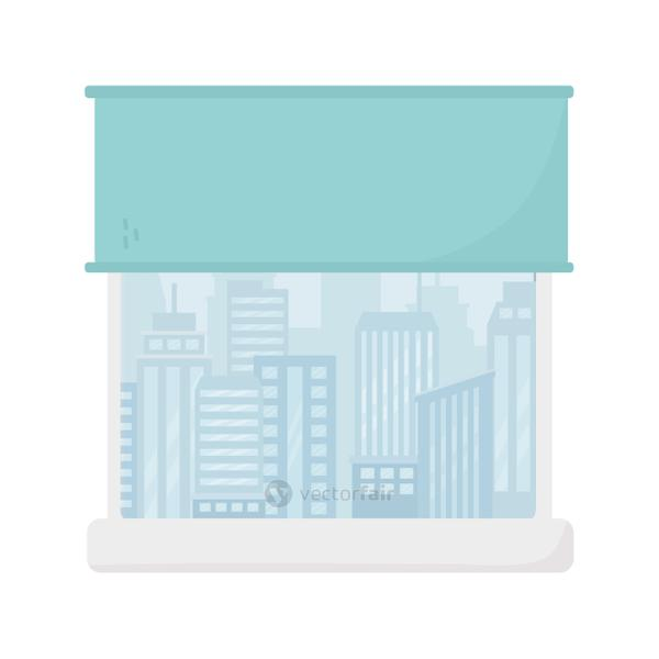 window with curtain cityscape view design