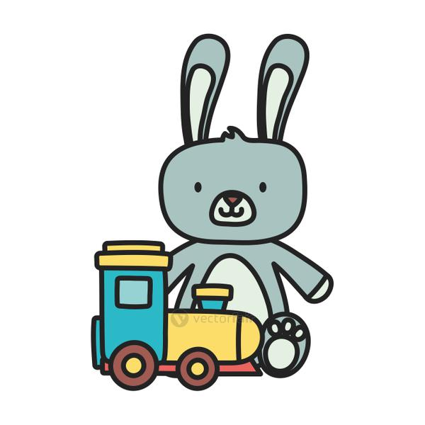 kids toy, cute rabbit and train wagon toys