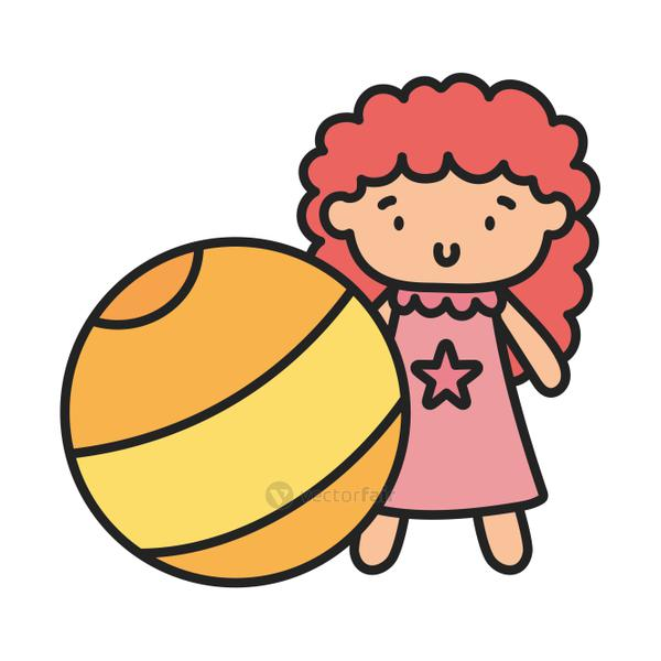 kids toy, yellow beach ball and cute doll