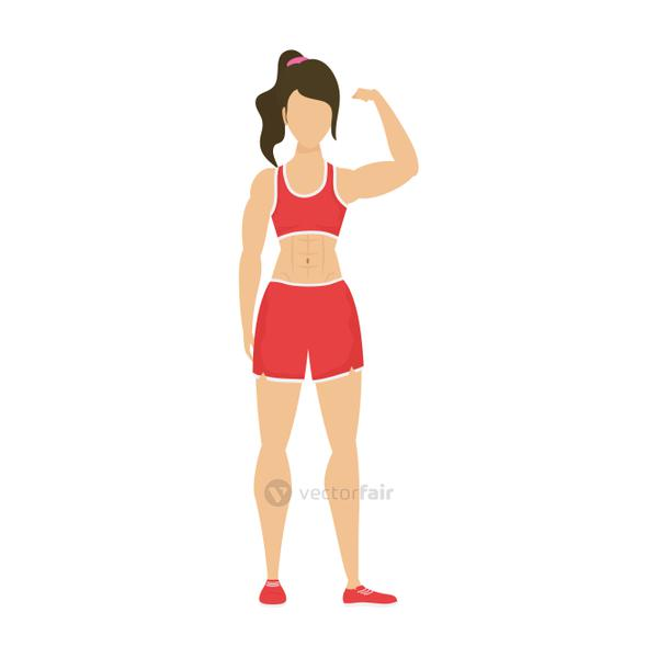 young strong woman athlete character healthy lifestyle