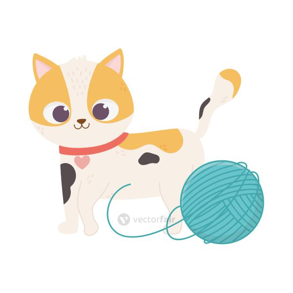cats make me happy, cute spotted cat with ball wool