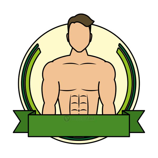 young man athlete without shirt in frame